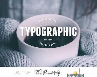 typographic logo design custom logo design boutique logo branding text logo business logo wordpress website logo blog logo etsy shop logo