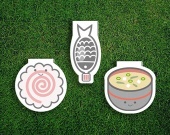 Magnetic Bookmark Set | Japanese Food Bookmark Set Japan, Japanese, Soy Sauce, Narutomaki, Naruto, Miso, Cute, Quirky, Kawaii, Food