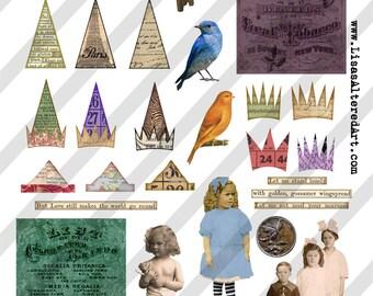 Digital Collage Sheet  ATC Element  Images  (Sheet no. O85) Ephemera-Instant Download