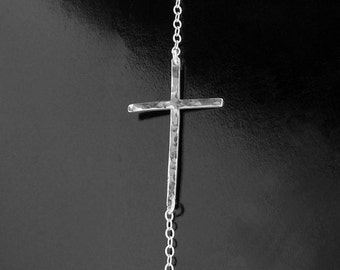 Kelly Ripa Sideways Cross - Longer Cross in Hammered Sterling Silver or Gold
