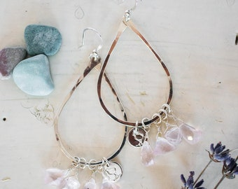 Sterling silver hoops, with rose quartz