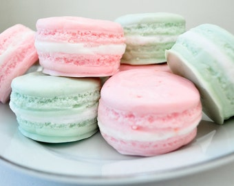 French Macaron gift set - gift soap - mothers day present gift for her - food soap - 5.5 oz - pastel pink and mint green - raspberry lime