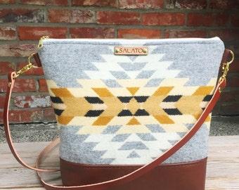 Portland Wool, Brown Leather  Cross body, Crossbody Purse, Crossbody Bag, Leather Crossbody, Messenger Bag, Wool Purse,  Wool Bag