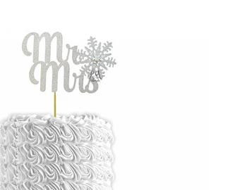 Glitter Mr & Mrs Snowflake Cake Topper - Cake Bunting, Winter Wedding Cake Topper, Winter Wedding, Snowflake Wedding, Christmas Wedding