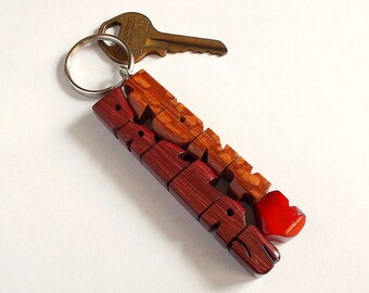 Wave Keychain in Leopardwood and Purpleheart Wood, Custom Names Carved to Order