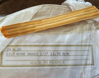 "Gold Braid / Gold Lace /  French Gilt wire Braid / Naval  1/2"" 13mm"