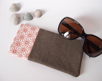 Etui à lunette de soleil en tissus écru motif asanoha rose gold et jean bronze - molletonnée