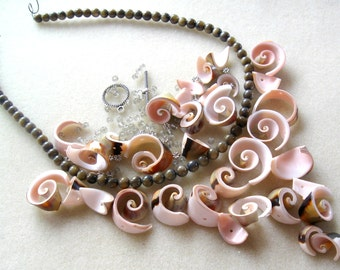 Shell Beads Gemstone Czech Glass Silver Pewter Necklace Jewelry  Bead Kit DIY