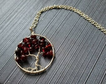 Wire and garnet tree of life  gemstone pendant