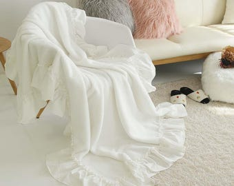 Ivory Faux Sheepskin with Frill Throw Blanket