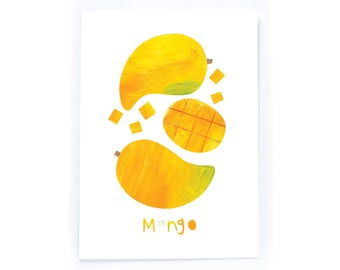 Archival Digital Print Acrylic Collage Illustration - Mango