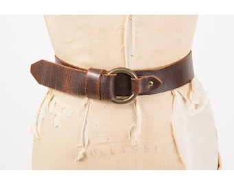 Vintage leather belt / Brown leather fetish cincher belt / Large metal O ring closure / S M