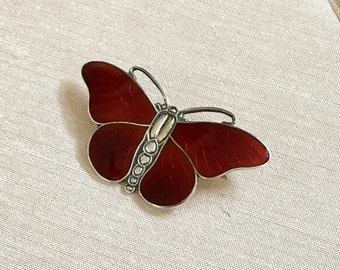 Vintage Guilloche Enamel Butterfly Brooch in Rust Enamel and Sterling with C Clasp