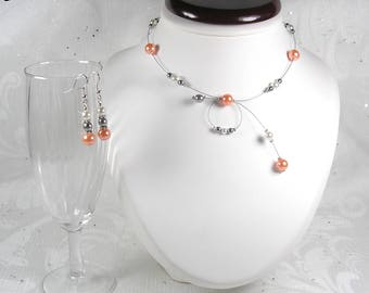 Set wedding Pearl - Emma - MARIAGE CÉRÉMONIE Classica Collection - bridal necklace light coral beads, silver gray, white, Bridal jewelry