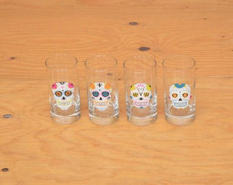 Set Of Four Small Multi Colored Day Of Skull Glasses