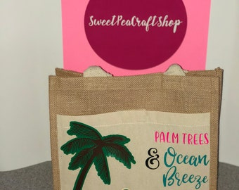 Summer bag//Beach bag//Burlap tote//Burlap bag//Pool Party//Relaxation