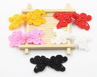 6 Pcs 2.56*0.98 Inches Retro Yellow/Red/Pink/White/Brown/Black Beads Butterfly Chinese Cheongsam Frog Buttons For Tang Suits