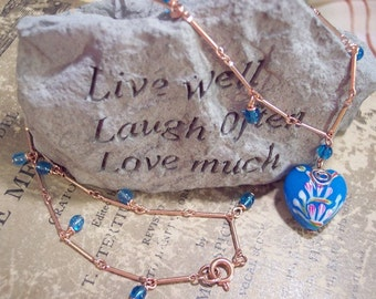 Hand Painted Glass Heart and Copper Necklace OOAK