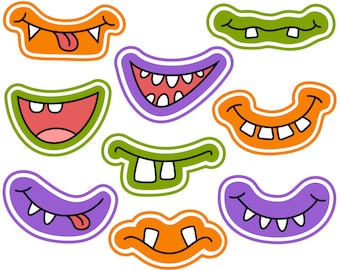 Halloween Monster Grins Digital Clip Art, Cute Monster Smiles, Monster Faces, Monster Printable Photo Booth Props, Instant Download - YDC107