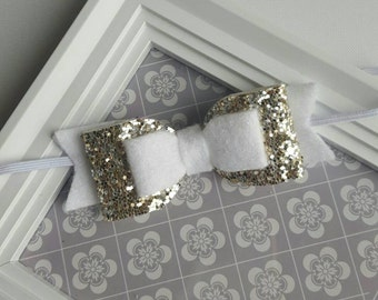 Girls headband, White headband, Baby Girl Hair Bow, baby headband, toddlers headband, Sparkling headband, Newborn headband, christening