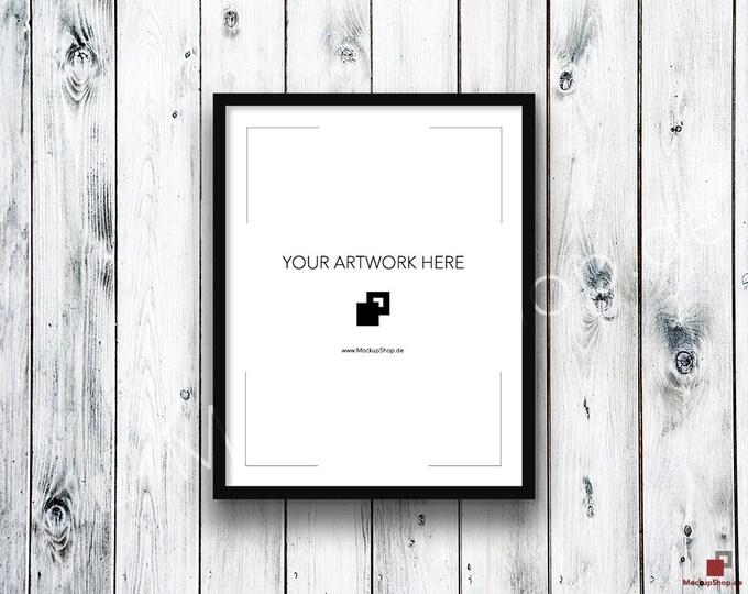 11x14 FRAME MOCKUP BLACK / Styled Photography Poster Mockup, old wooden white grey wall, Framed Art, Instant Download / Frame Mockup