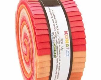 "SALE Kona Cotton Solids Roll Up Blushing Bouquet Palette - 2.5"" Inch Precut Fabric Strips - Coral Pink Peach - Kona Jelly Roll - RU-434-40"