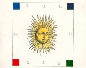 "Original Drawing 'Sol-Sun' approx 3"" X 3.25"""