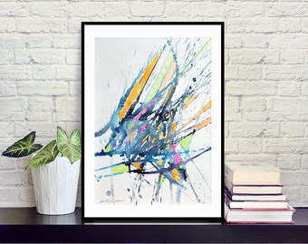 Original watercolor abstract painting on paper in black, white, orange, apple green, pink, blue, modern art, 30x42 cm (app.12x17')