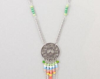 """Necklace Springtime Ethnic """"Peace And Love"""" Multicolour and Silver"""
