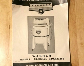 Vintage Kenmore Wringer Washer owners manual and parts list free US shipping!