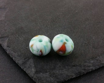 Koi - Pair of etched green fritty lampwork glass beads   Earring pair.