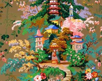 antique chinoiserie wallpaper illustration digital download