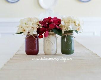 Christmas Set Of 3 Painted Mason Jars. Red/Green/Cream Christmas Decor. Gift Idea. Set of 3 Pint Size mason jars. wedding decor. home.