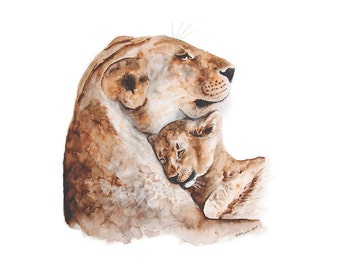 Lion Art Print, Mother's Day Gift, Lion Present, Cat Mom, for Her, Lion watercolor, for mom, lion print, animal art