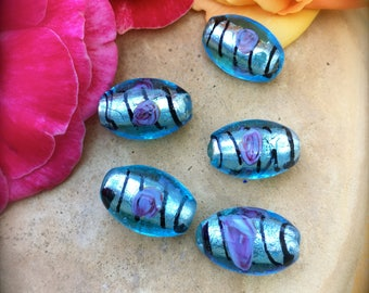 BLUE FOIL with PINK Rose Beads-Barrel Shaped Blue Glass over Silver Foil Beads-Blue and Pink with Black Stripe-Floral Beads-Abstract-Focal
