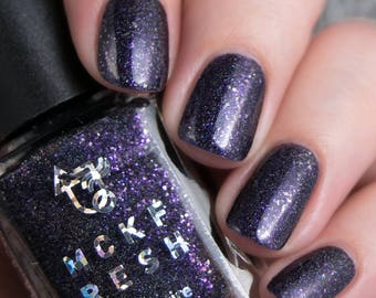 REVAMP Bunnies Are Evil by Mckfresh Nail Attire - Indie Nail Polish Black/ Pink/ Silver Holographic