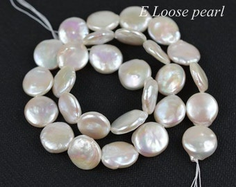 Coin pearl Freshwater Pearl White loose pearl Coin pearl necklace 13-14mm 28pcs Bridal design wedding Full Strand PL4201