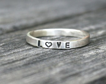 Personalized Simple Thin Sterling Silver Band - Love