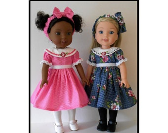 "Dress and headband PDF sewing pattern for 14 1/2"" dolls like Wellie Wishers"