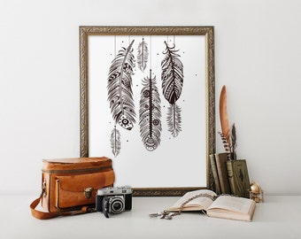 Bohemian wall art, feather wall art, bohemian decor, printable art, home decor, boho decor, feather art print, Black and White BD-494