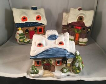 Set of 3 ceramic Christmas Winter Lighted Houses