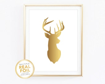 Deer, Real Foil Print, Gold foil, Silver foil, 8x10, Home Decor, Wall Art, Gold Print, Metallic Foil, Quote Print, Christmas, Reindeer
