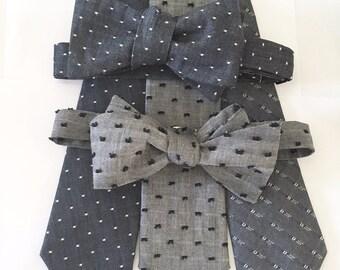 Chambray, blue, denim, swiss dot, polka dot, skinny tie, cotton, wedding, groomsmen, indigo, oxford, chambray tie, custom tie, mens tie, tie