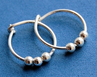 Sterling Silver Half Inch Simple Sleeper Hoops with a Trio of Sterling Beads
