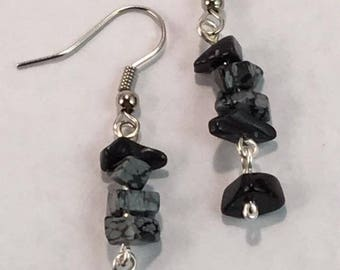 Handmade Genuine Snowflake Obsidian Earrings Drop Earrings healing earrings boho earrings dangle earrings Gemstone earrings