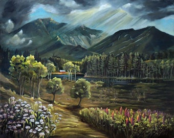 Vista View Of Cannon Mountain Framed Oil Painting