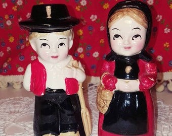 Vintage Ceramic Amish Salt & Pepper Shaker Pair