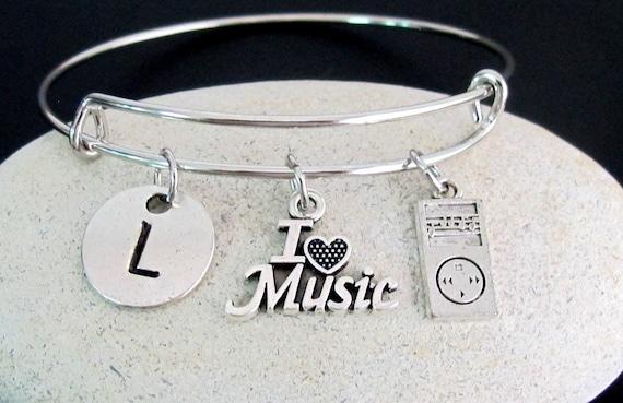 Music Bangle,Music Bracelet,Music Lover Gift,I love music bangle,Gift Personalized  Music Jewelry,music bracelet,Free Shipping USA