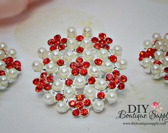 25mm Large Pearl buttons flatbacks Red Rhinestone buttons Crystal Buttons Big Pearl flower centers Bridal accessories 800068
