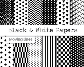 Black and White Digital Paper Pack, Gift Wrapping Paper, Origami, Scrap Book Paper, Hearts, Polka Dots, Chevron, 12 Printables